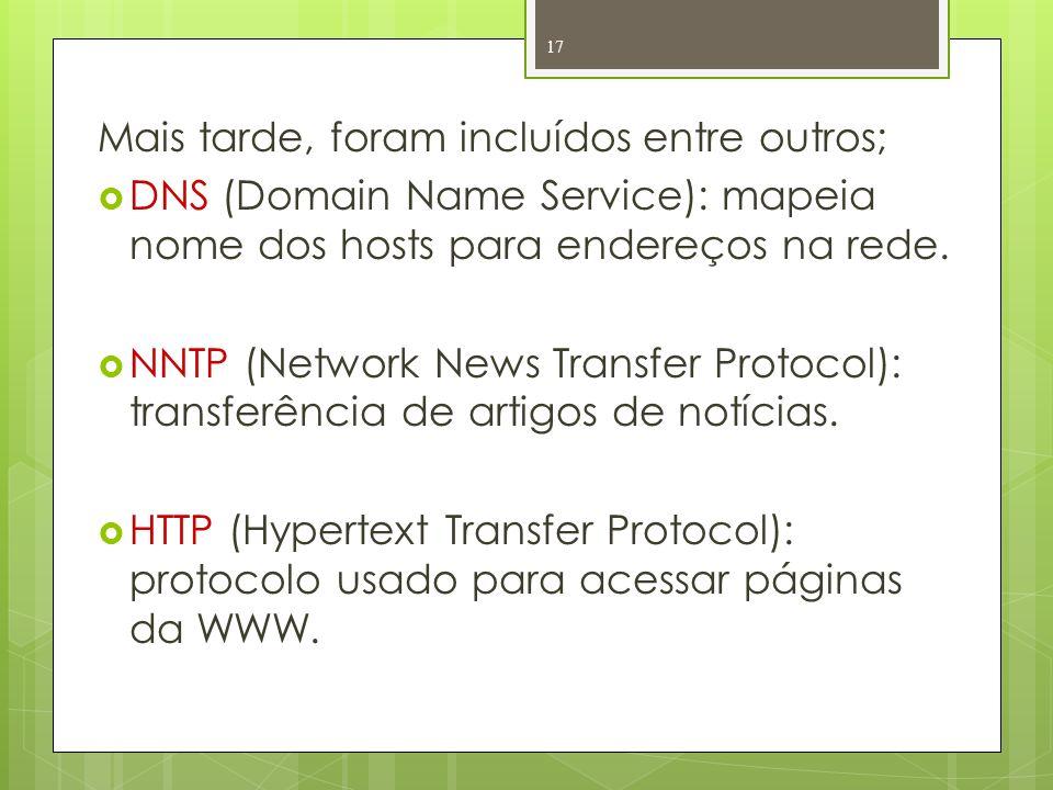 Mais tarde, foram incluídos entre outros; DNS (Domain Name Service): mapeia nome dos hosts para endereços na rede. NNTP (Network News Transfer Protoco