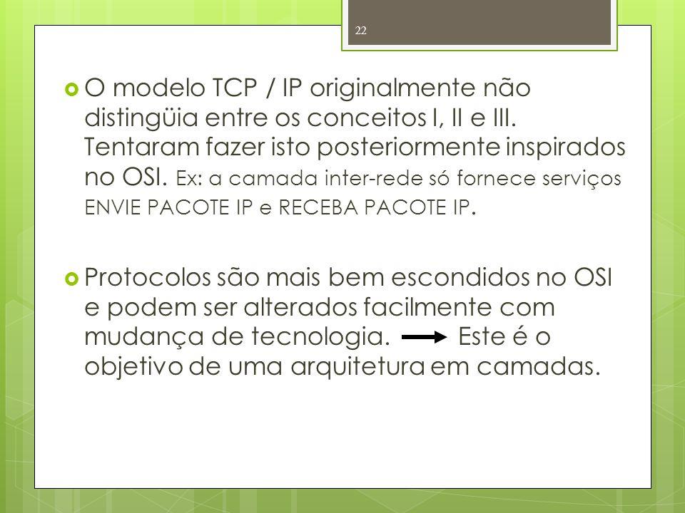 O modelo TCP / IP originalmente não distingüia entre os conceitos I, II e III. Tentaram fazer isto posteriormente inspirados no OSI. Ex: a camada inte