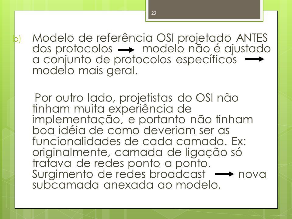 b) Modelo de referência OSI projetado ANTES dos protocolos modelo não é ajustado a conjunto de protocolos específicos modelo mais geral. Por outro lad