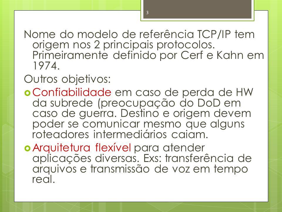 Nome do modelo de referência TCP/IP tem origem nos 2 principais protocolos. Primeiramente definido por Cerf e Kahn em 1974. Outros objetivos: Confiabi