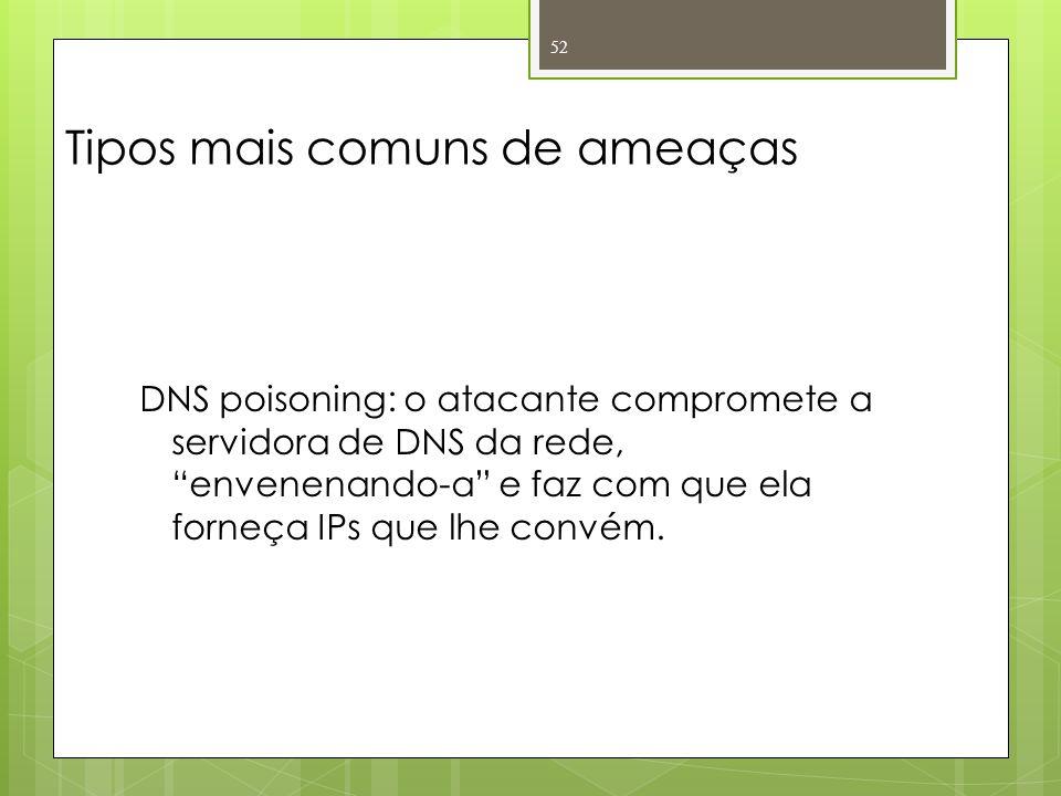 Tipos mais comuns de ameaças DNS poisoning: o atacante compromete a servidora de DNS da rede, envenenando-a e faz com que ela forneça IPs que lhe conv