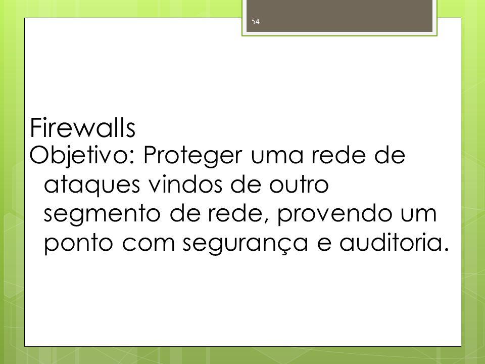 Firewalls Objetivo: Proteger uma rede de ataques vindos de outro segmento de rede, provendo um ponto com segurança e auditoria. 54