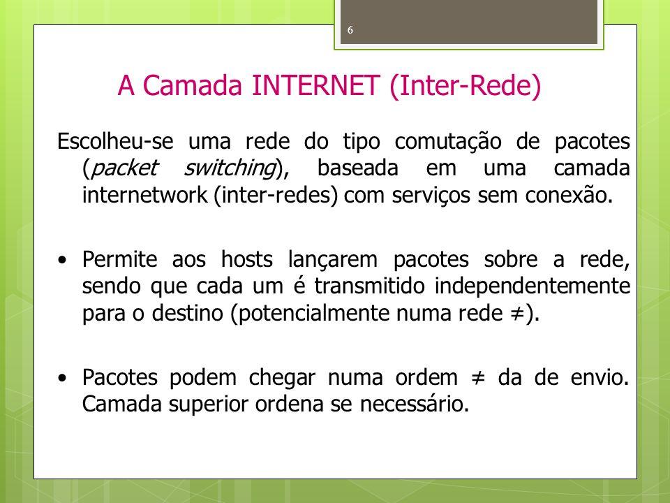 6 A Camada INTERNET (Inter-Rede) Escolheu-se uma rede do tipo comutação de pacotes (packet switching), baseada em uma camada internetwork (inter-redes