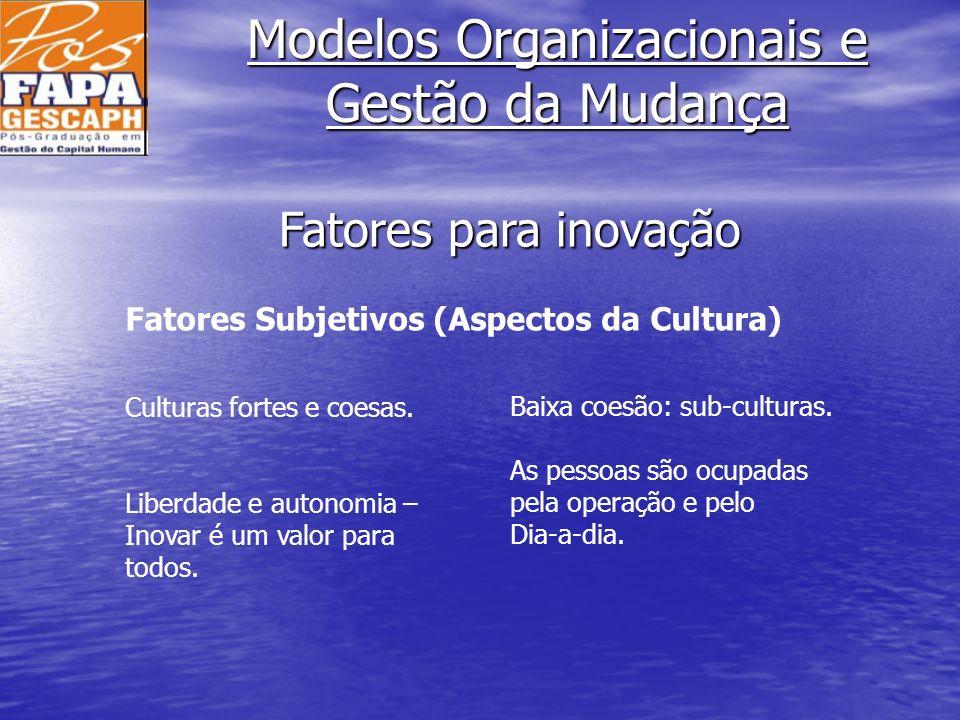 Modelos Organizacionais e Gestão da Mudança Fatores Subjetivos (Aspectos da Cultura) Culturas fortes e coesas. Liberdade e autonomia – Inovar é um val