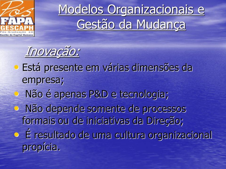 Modelos Organizacionais e Gestão da Mudança Está presente em várias dimensões da empresa; Está presente em várias dimensões da empresa; Não é apenas P