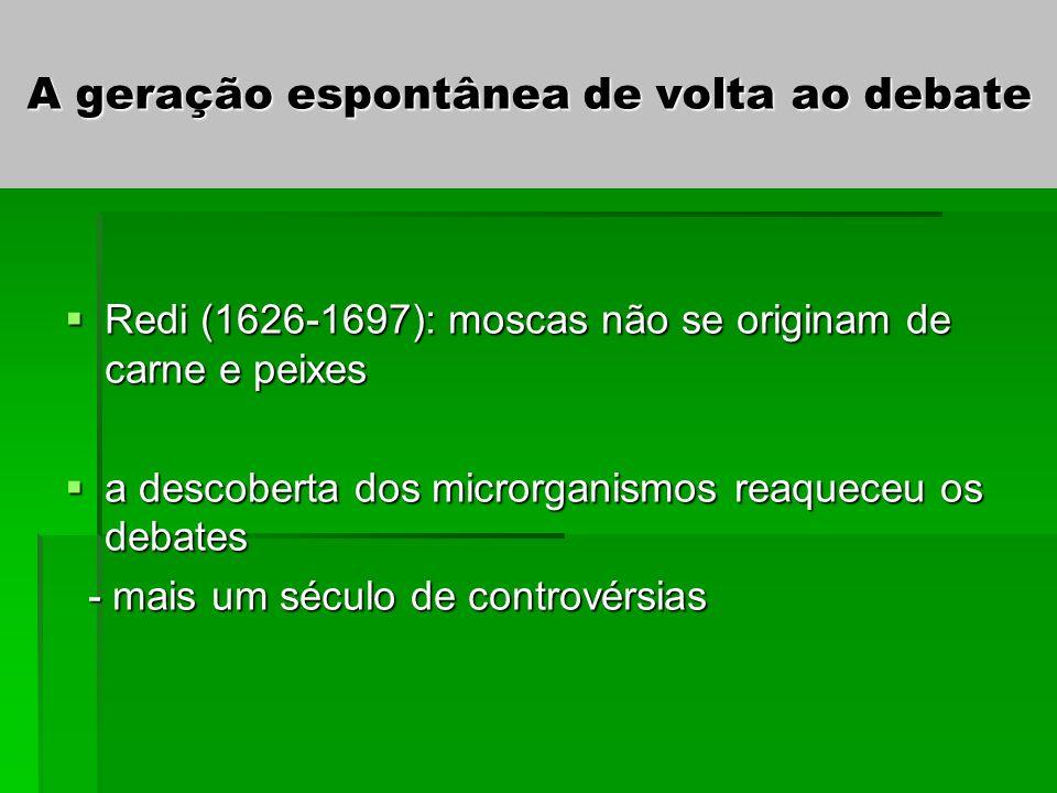 A geração espontânea de volta ao debate Redi (1626-1697): moscas não se originam de carne e peixes Redi (1626-1697): moscas não se originam de carne e