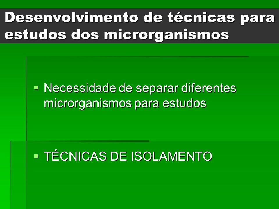 Desenvolvimento de técnicas para estudos dos microrganismos Necessidade de separar diferentes microrganismos para estudos Necessidade de separar difer