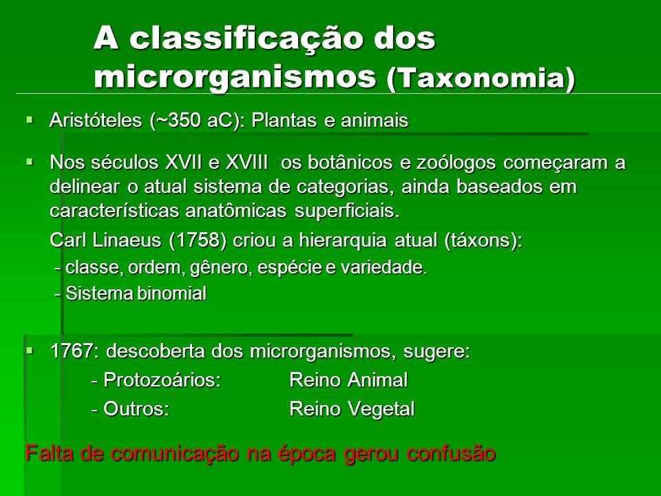 A classificação dos microrganismos (Taxonomia) Aristóteles (~350 aC): Plantas e animais Aristóteles (~350 aC): Plantas e animais Nos séculos XVII e XV
