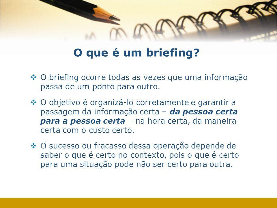 O que é um briefing? O briefing ocorre todas as vezes que uma informação passa de um ponto para outro. O objetivo é organizá-lo corretamente e garanti