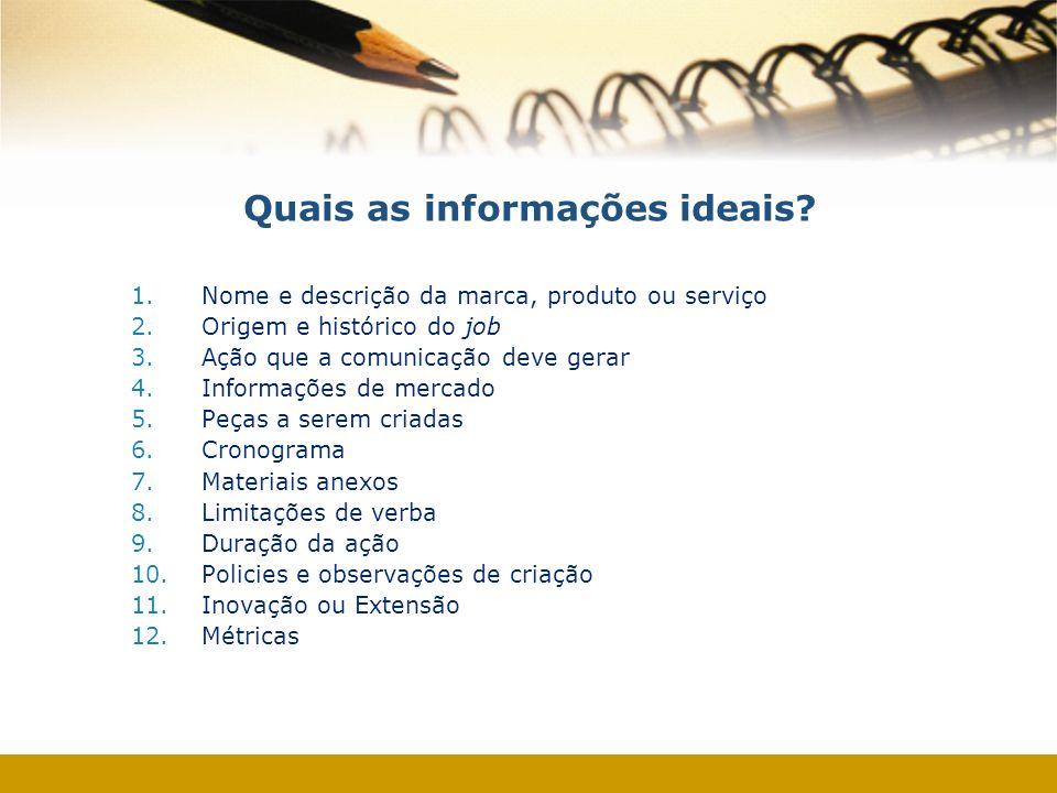 Quais as informações ideais? 1.Nome e descrição da marca, produto ou serviço 2.Origem e histórico do job 3.Ação que a comunicação deve gerar 4.Informa