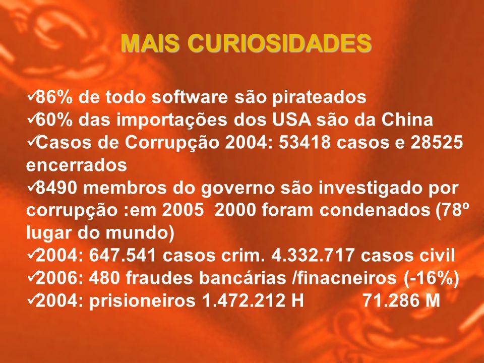 86% de todo software são pirateados 60% das importações dos USA são da China Casos de Corrupção 2004: 53418 casos e 28525 encerrados 8490 membros do g