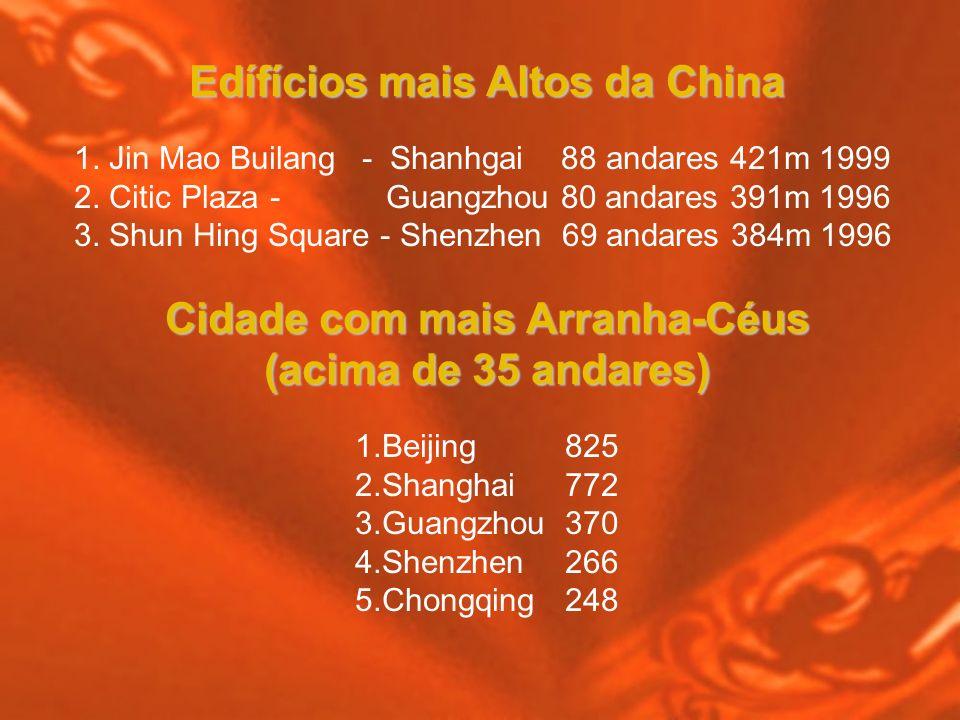 Edífícios mais Altos da China 1. Jin Mao Builang- Shanhgai 88 andares 421m 1999 2. Citic Plaza - Guangzhou 80 andares 391m 1996 3. Shun Hing Square -