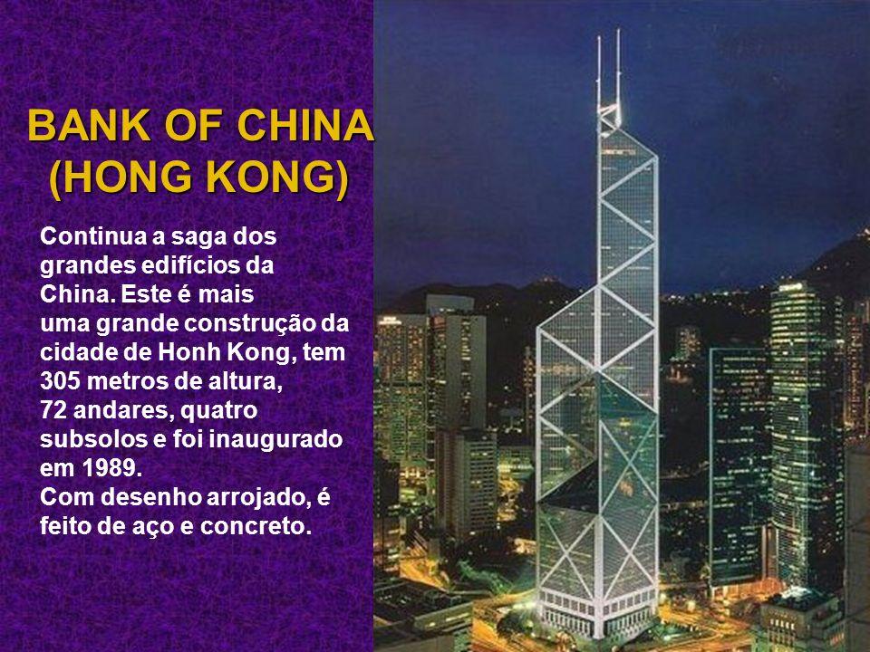 Continua a saga dos grandes edifícios da China. Este é mais uma grande construção da cidade de Honh Kong, tem 305 metros de altura, 72 andares, quatro