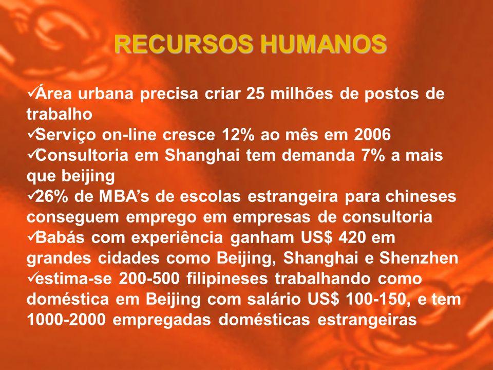 Área urbana precisa criar 25 milhões de postos de trabalho Serviço on-line cresce 12% ao mês em 2006 Consultoria em Shanghai tem demanda 7% a mais que