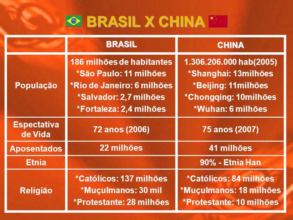 BRASILCHINA População 186 milhões de habitantes *São Paulo: 11 milhões *Rio de Janeiro: 6 milhões *Salvador: 2,7 milhões *Fortaleza: 2,4 milhões 1.306