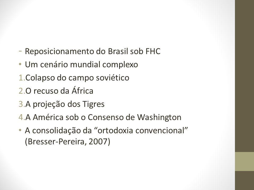 - Reposicionamento do Brasil sob FHC Um cenário mundial complexo 1.Colapso do campo soviético 2.O recuso da África 3.A projeção dos Tigres 4.A América