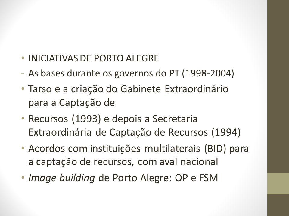 INICIATIVAS DE PORTO ALEGRE -As bases durante os governos do PT (1998-2004) Tarso e a criação do Gabinete Extraordinário para a Captação de Recursos (