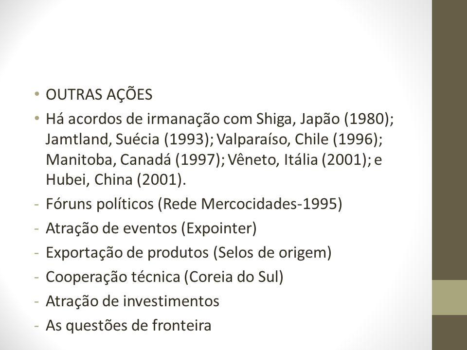 OUTRAS AÇÕES Há acordos de irmanação com Shiga, Japão (1980); Jamtland, Suécia (1993); Valparaíso, Chile (1996); Manitoba, Canadá (1997); Vêneto, Itál