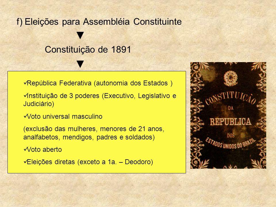 f) Eleições para Assembléia Constituinte Constituição de 1891 República Federativa (autonomia dos Estados ) Instituição de 3 poderes (Executivo, Legis