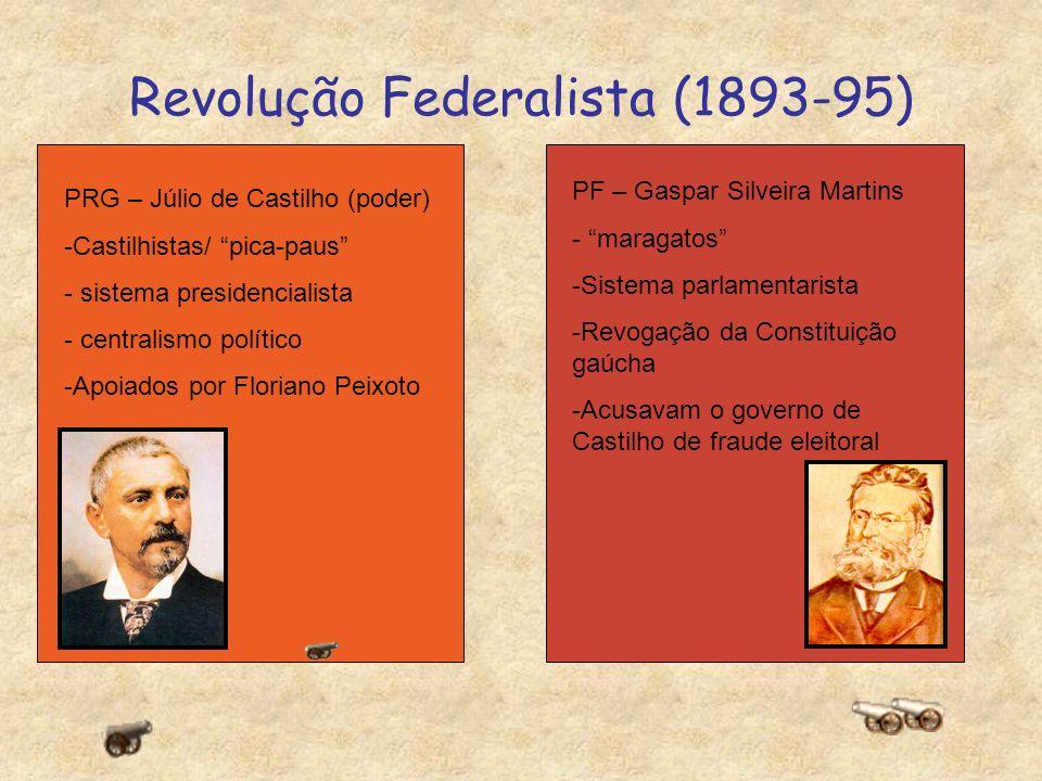 Revolução Federalista (1893-95) X PRG – Júlio de Castilho (poder) -Castilhistas/ pica-paus - sistema presidencialista - centralismo político -Apoiados