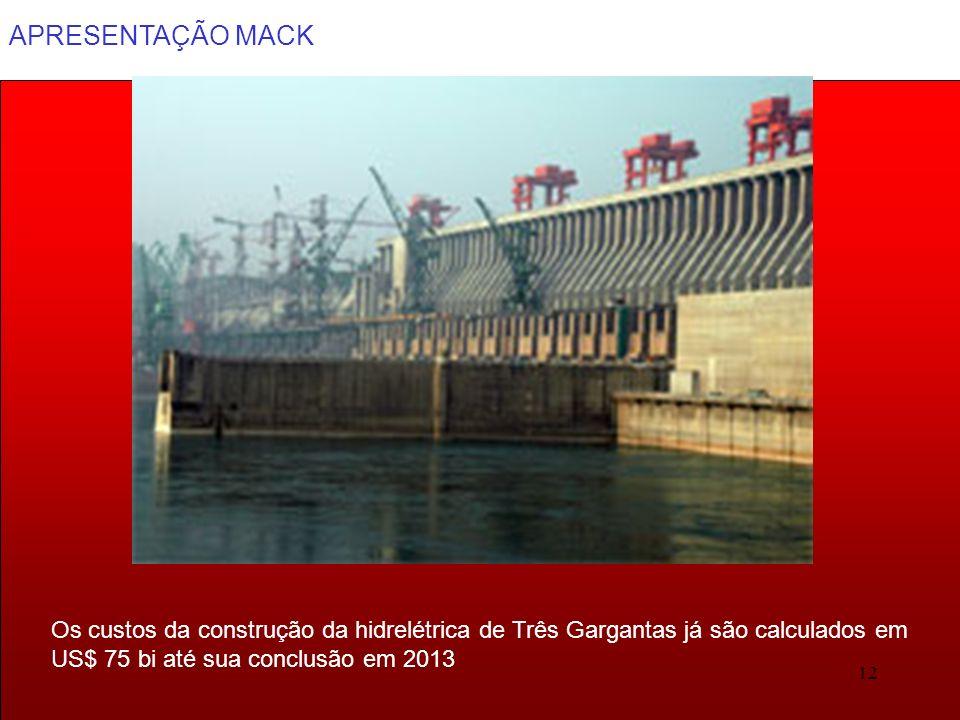 APRESENTAÇÃO MACK 12 Os custos da construção da hidrelétrica de Três Gargantas já são calculados em US$ 75 bi até sua conclusão em 2013