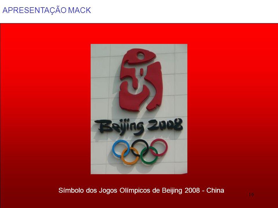 APRESENTAÇÃO MACK 16 Símbolo dos Jogos Olímpicos de Beijing 2008 - China