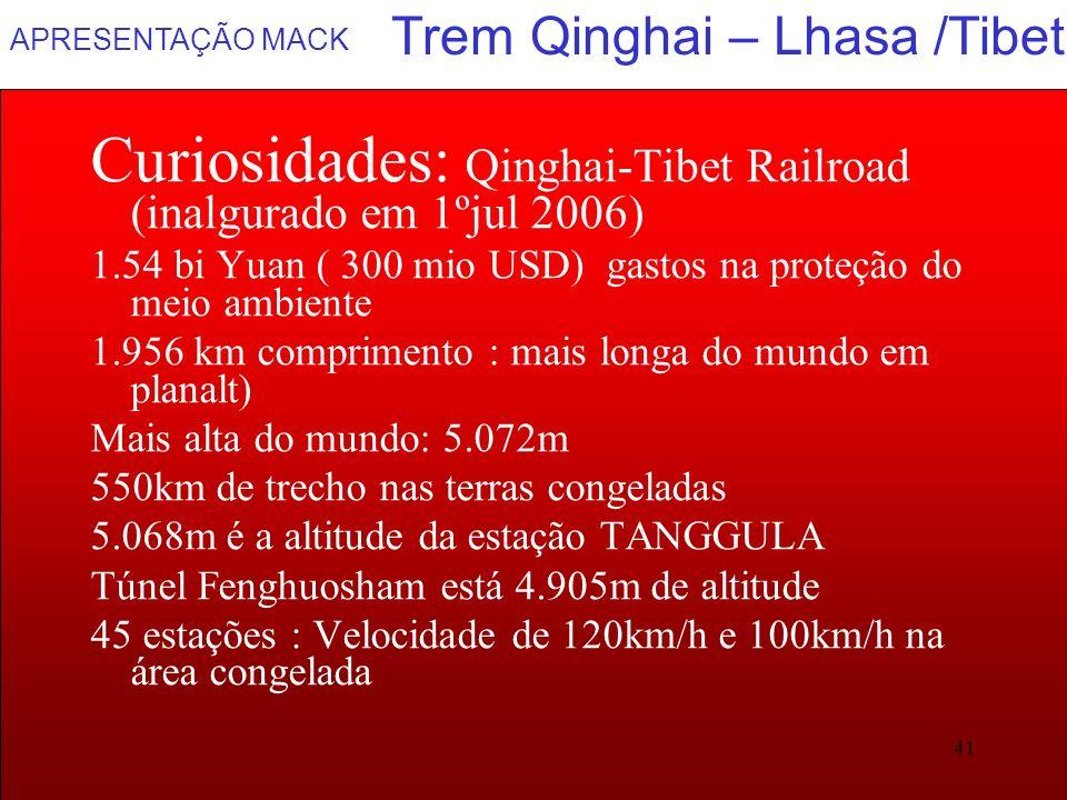 APRESENTAÇÃO MACK 41 Trem Qinghai – Lhasa /Tibet Curiosidades: Qinghai-Tibet Railroad (inalgurado em 1ºjul 2006) 1.54 bi Yuan ( 300 mio USD) gastos na