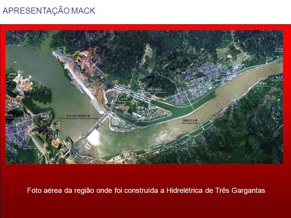 APRESENTAÇÃO MACK 9 Foto aérea da região onde foi construída a Hidrelétrica de Três Gargantas