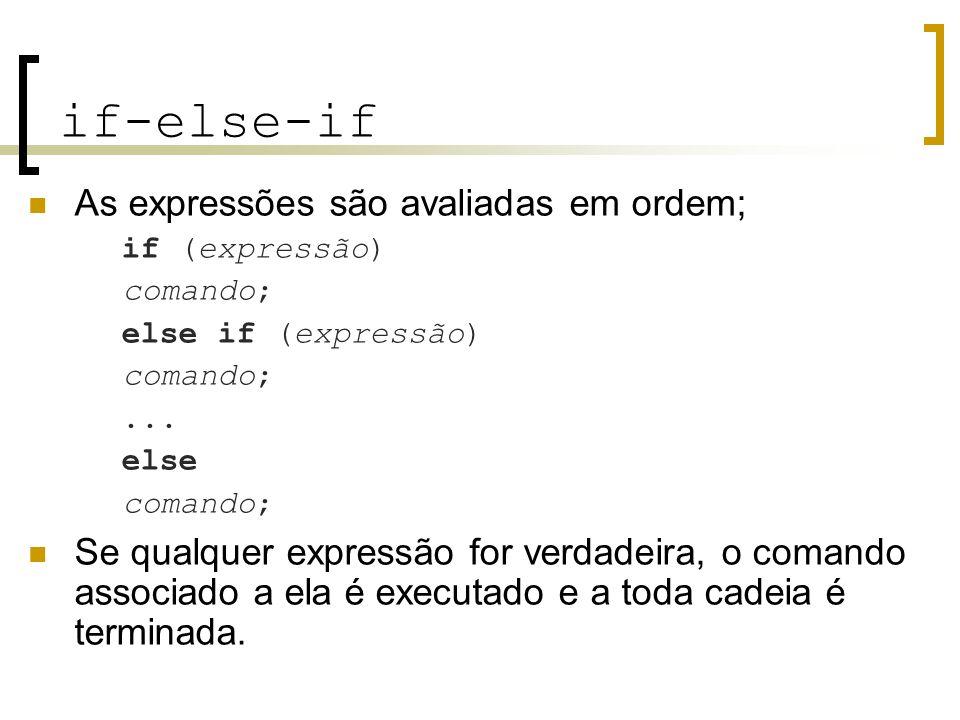 if-else-if As expressões são avaliadas em ordem; if (expressão) comando; else if (expressão) comando;... else comando; Se qualquer expressão for verda