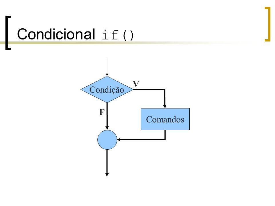 Condicional if() C não possui variáveis booleanas Falso é representado por zero Verdadeiro é qualquer valor diferente de zero Um conjunto de instruções deve ser delimitado por chaves.