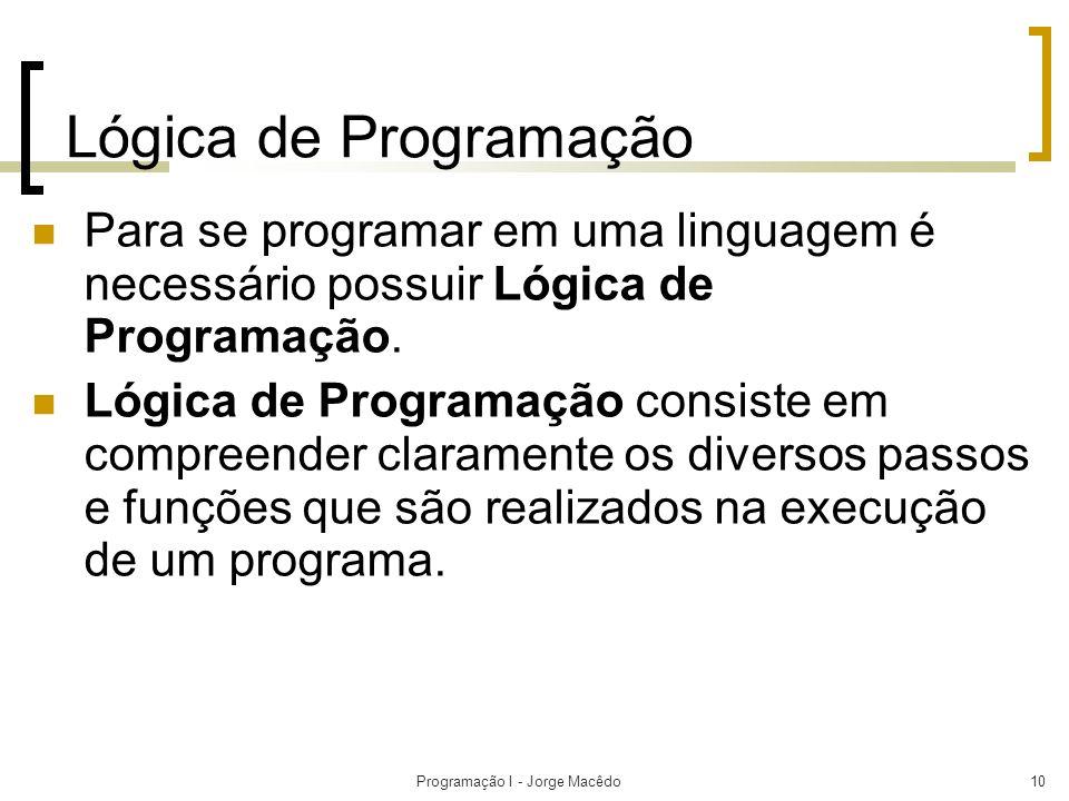 Programação I - Jorge Macêdo10 Lógica de Programação Para se programar em uma linguagem é necessário possuir Lógica de Programação. Lógica de Programa