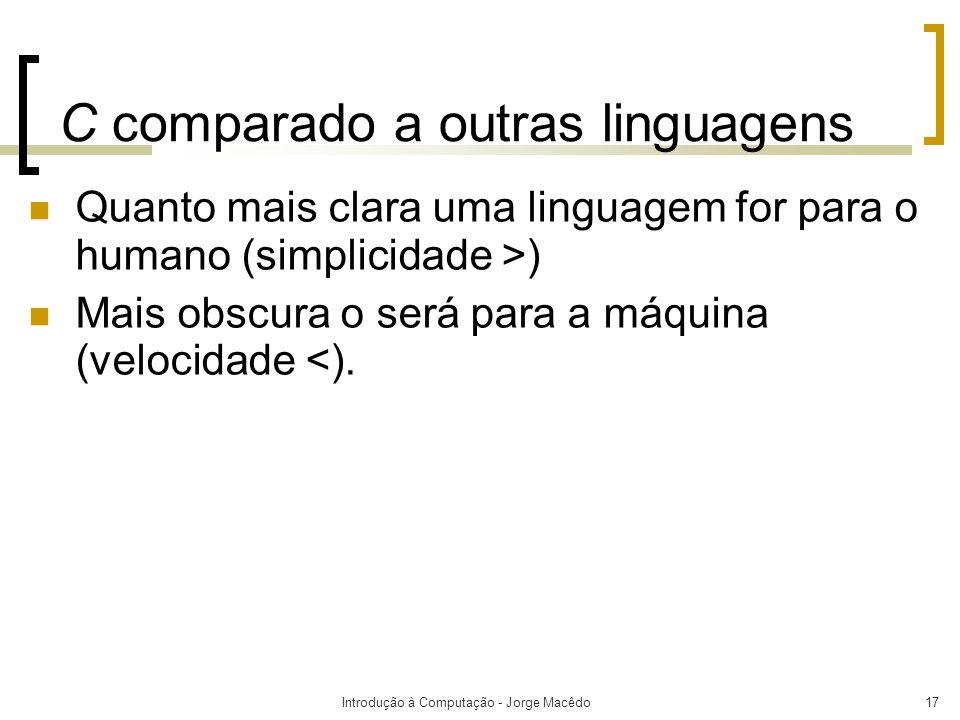 Introdução à Computação - Jorge Macêdo17 C comparado a outras linguagens Quanto mais clara uma linguagem for para o humano (simplicidade >) Mais obscu