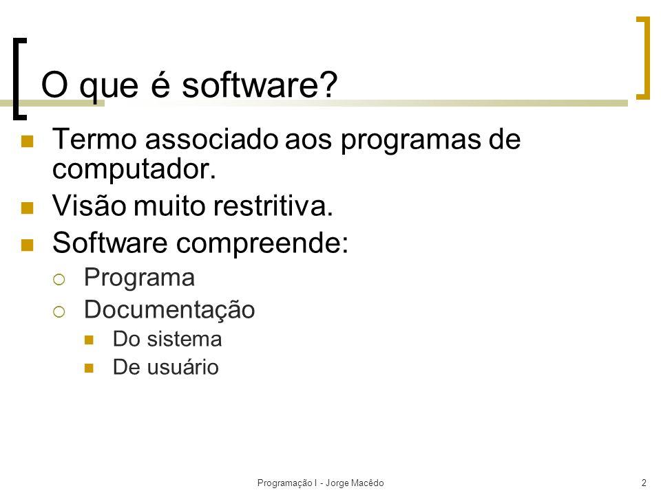 Programação I - Jorge Macêdo2 O que é software? Termo associado aos programas de computador. Visão muito restritiva. Software compreende: Programa Doc