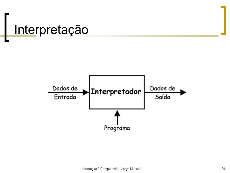 Introdução à Computação - Jorge Macêdo20 Interpretação