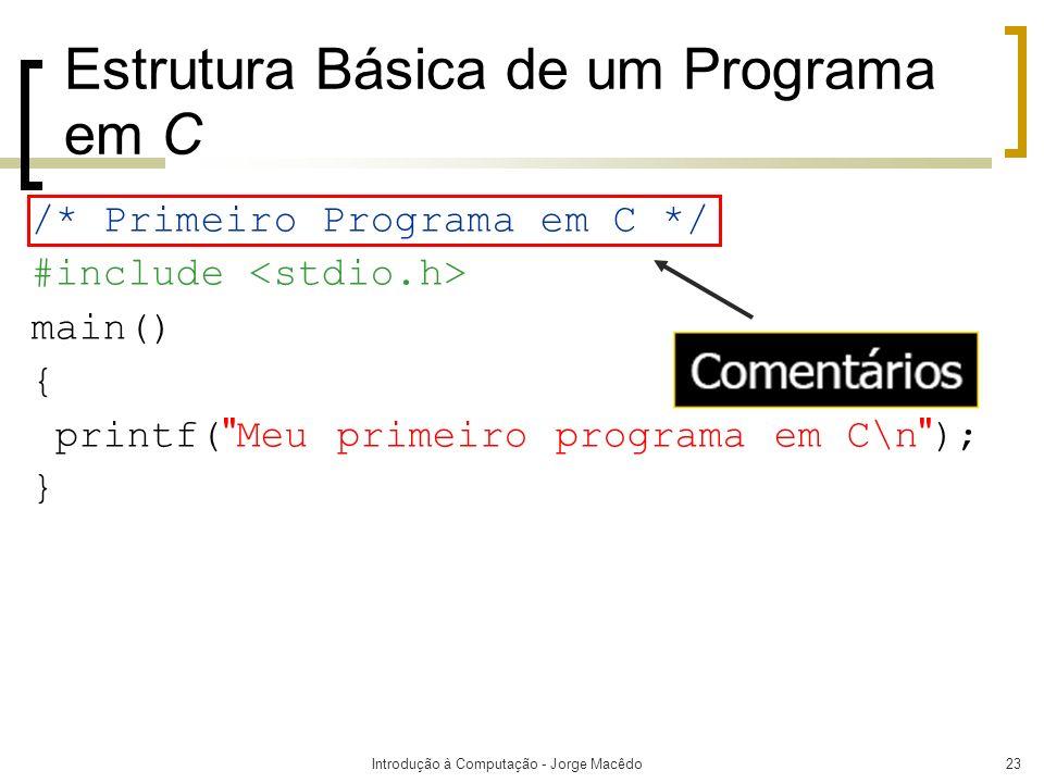 Introdução à Computação - Jorge Macêdo23 Estrutura Básica de um Programa em C /* Primeiro Programa em C */ #include main() { printf(