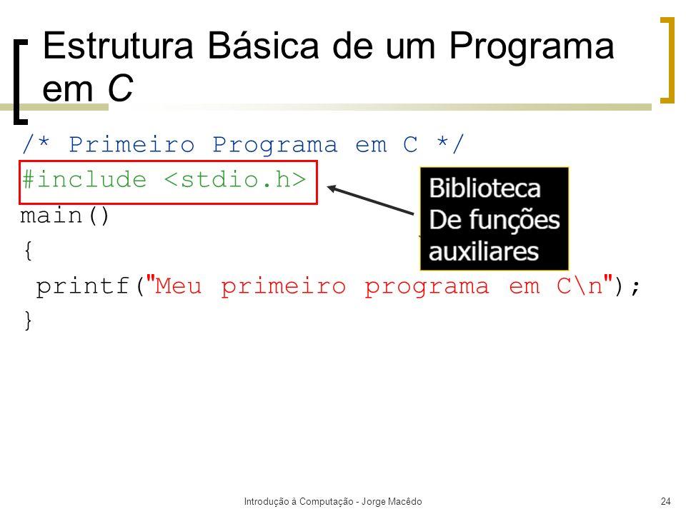 Introdução à Computação - Jorge Macêdo24 Estrutura Básica de um Programa em C /* Primeiro Programa em C */ #include main() { printf(