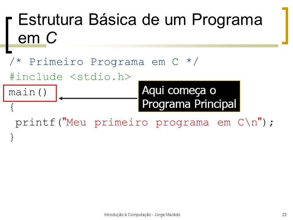 Introdução à Computação - Jorge Macêdo25 Estrutura Básica de um Programa em C /* Primeiro Programa em C */ #include main() { printf(