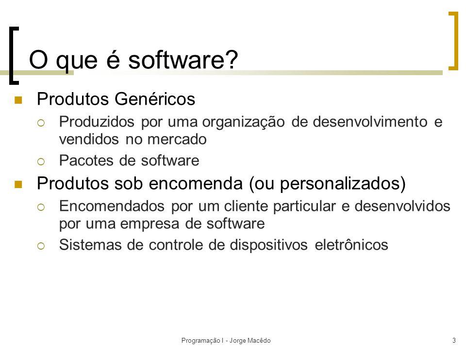 Programação I - Jorge Macêdo3 O que é software? Produtos Genéricos Produzidos por uma organização de desenvolvimento e vendidos no mercado Pacotes de