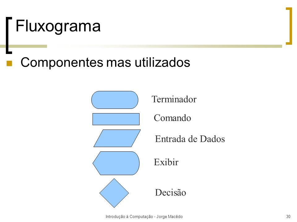 Introdução à Computação - Jorge Macêdo30 Fluxograma Terminador Comando Entrada de Dados Exibir Decisão Componentes mas utilizados