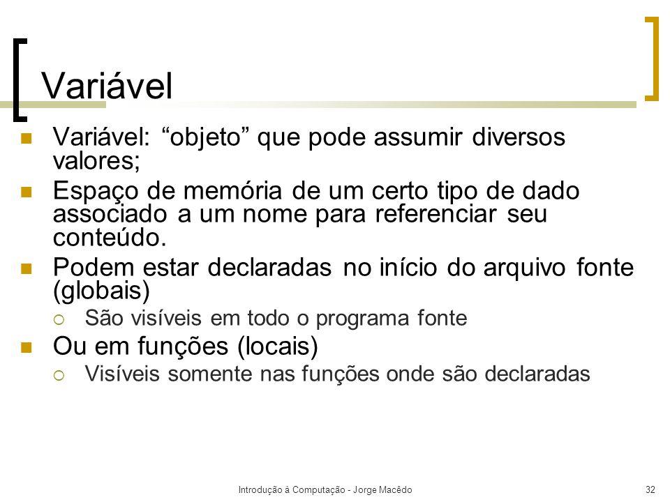 Introdução à Computação - Jorge Macêdo32 Variável Variável: objeto que pode assumir diversos valores; Espaço de memória de um certo tipo de dado assoc