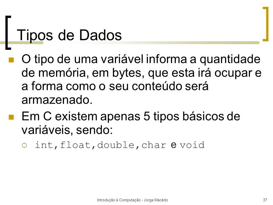 Introdução à Computação - Jorge Macêdo37 Tipos de Dados O tipo de uma variável informa a quantidade de memória, em bytes, que esta irá ocupar e a form
