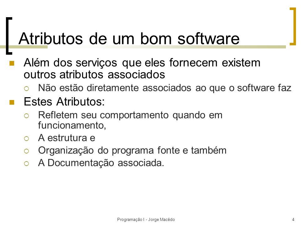 Programação I - Jorge Macêdo5 Atributos de um bom software Dependendo da aplicação do sistema, o conjunto de atributos pode mudar.