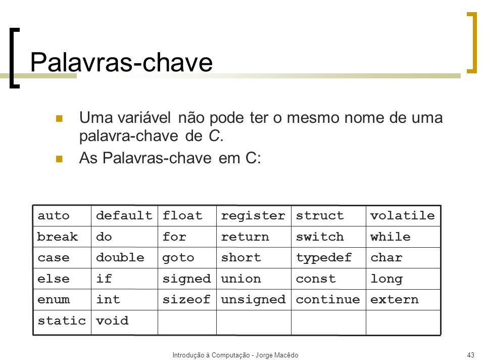 Introdução à Computação - Jorge Macêdo43 Palavras-chave Uma variável não pode ter o mesmo nome de uma palavra-chave de C. As Palavras-chave em C: void