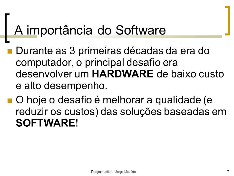 Programação I - Jorge Macêdo7 A importância do Software Durante as 3 primeiras décadas da era do computador, o principal desafio era desenvolver um HA