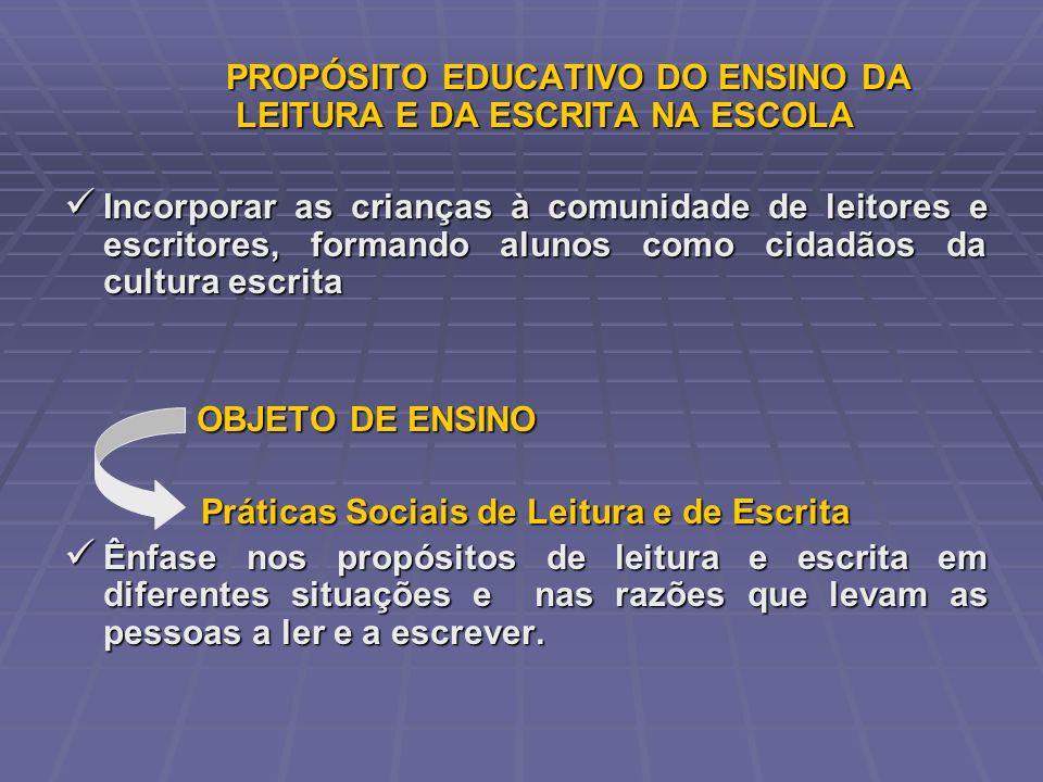 PROPÓSITO EDUCATIVO DO ENSINO DA LEITURA E DA ESCRITA NA ESCOLA PROPÓSITO EDUCATIVO DO ENSINO DA LEITURA E DA ESCRITA NA ESCOLA Incorporar as crianças