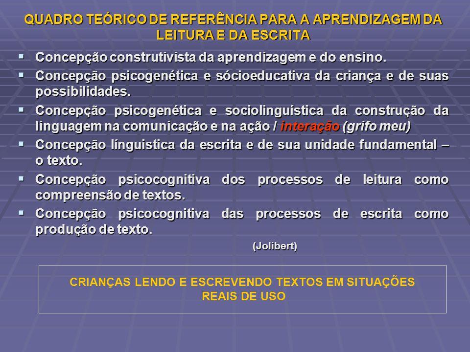 QUADRO TEÓRICO DE REFERÊNCIA PARA A APRENDIZAGEM DA LEITURA E DA ESCRITA Concepção construtivista da aprendizagem e do ensino. Concepção construtivist