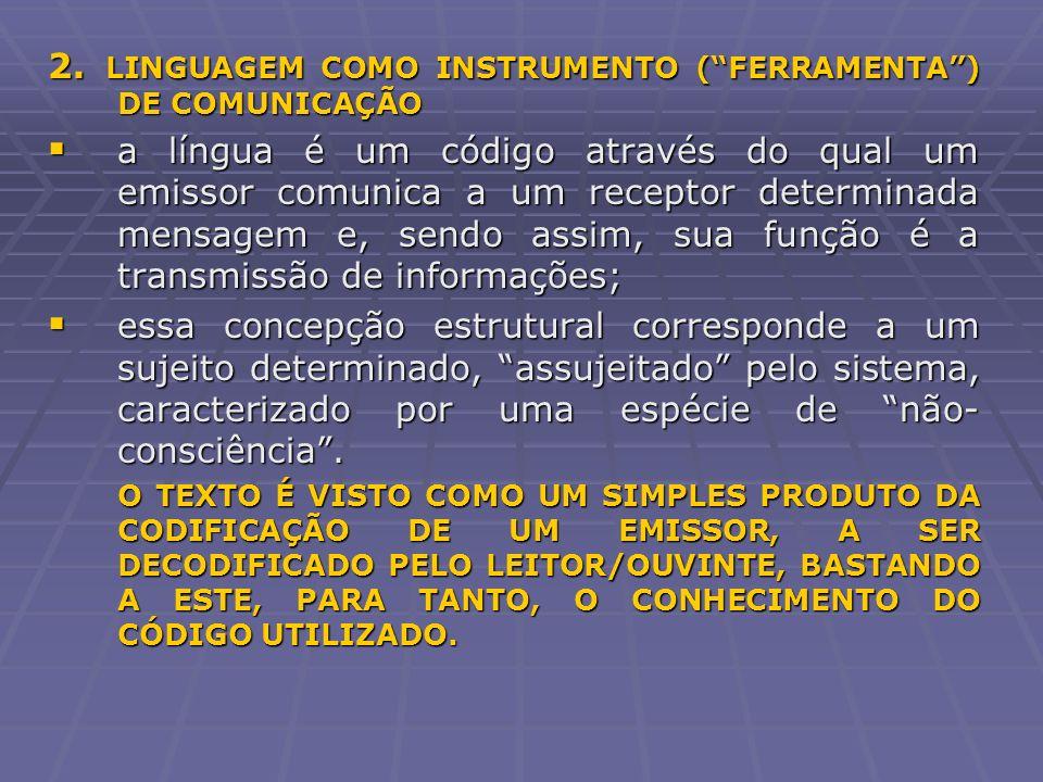 2. LINGUAGEM COMO INSTRUMENTO (FERRAMENTA) DE COMUNICAÇÃO a língua é um código através do qual um emissor comunica a um receptor determinada mensagem