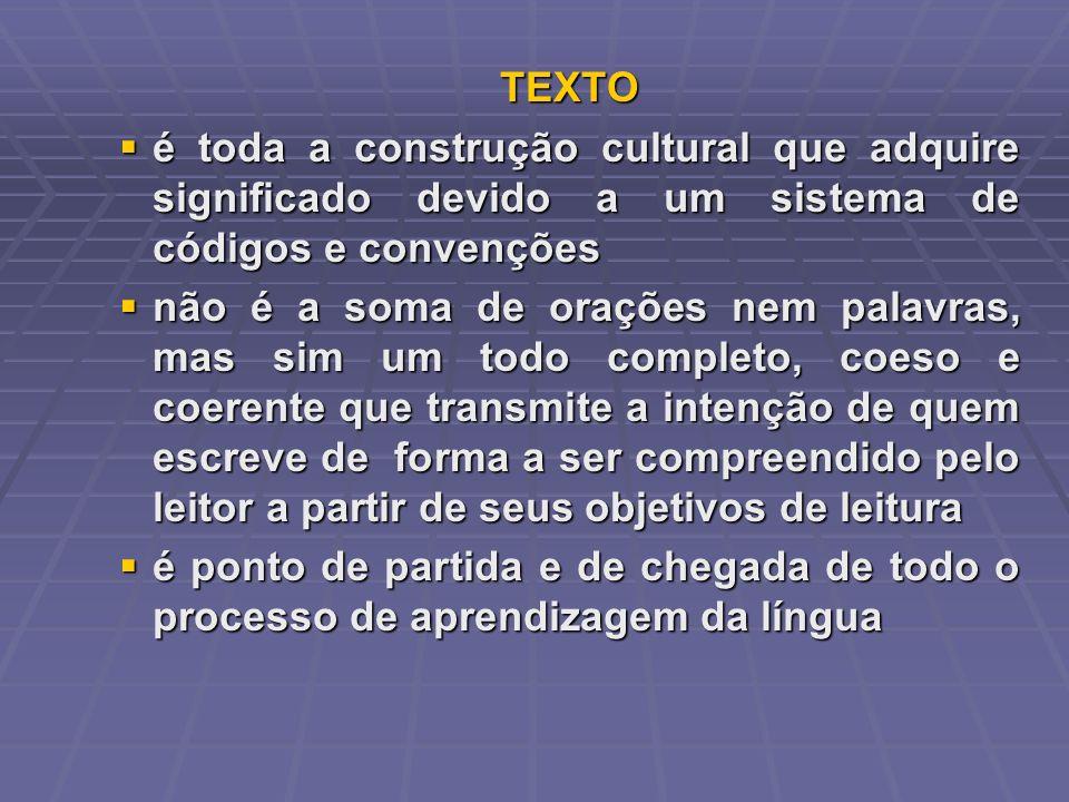 TEXTO é toda a construção cultural que adquire significado devido a um sistema de códigos e convenções é toda a construção cultural que adquire signif