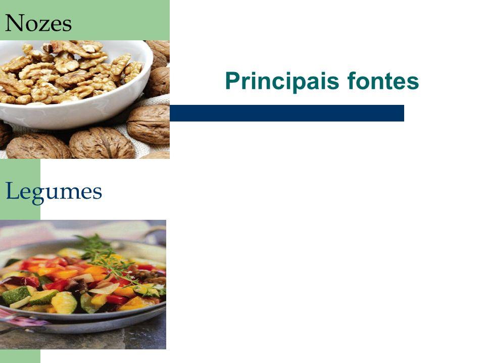 Principais fontes Nozes Legumes