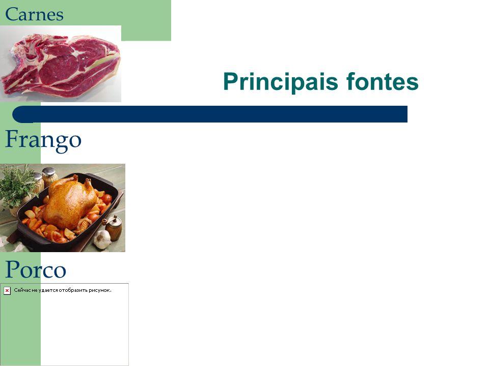 Principais fontes Carnes Frango Porco